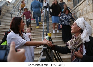 MERON, ISRAEL - MAY 1, 2018: Miri Regev, minister of Sport in the Israeli government, arrives to pray, mingle and pose for pictures in Meron, Israel