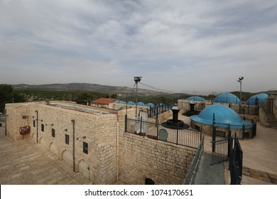 MERON, ISRAEL - MAY 18, 2017: The gravesite of Rabbi Shimon Bar Yochai in Meron, Israel view from above