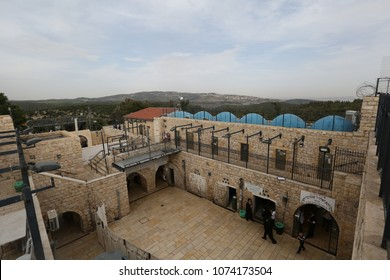 MERON, ISRAEL - MAY 18, 2017: View of the courtyard at the gravesite of Rabbi Shimon Bar Yochai in Meron, Israel from different angles