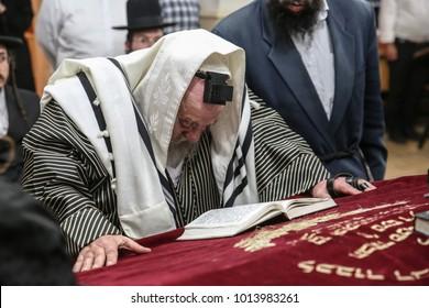 MERON, ISRAEL - May 2, 2017: Karlsburger Rebbe of New York arrives in Meron, Israel with his hasidic followers to pray at the gravesite of Rabbi Shimon bar Yochai
