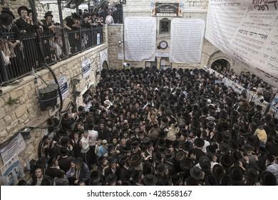MERON, ISRAEL - MAY 26, 2016: MERON, ISRAEL - MAY 26, 2016: Orthodox Jews celebrates Lag Ba'omer in Bar Yochai tomb in Meron. Orthodox Jews, singing and dancing annual Hillula
