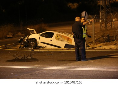 MERON, ISRAEL - Nov 15, 2017: Motor vehicle accident on the road that connects Safed and Meron in Israel