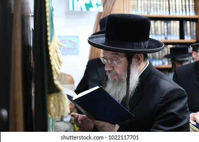 MERON, ISRAEL - SEPT 14, 2017: The  hasidic Jewish Admor/Grand Rabbi of Zvhil prays at the cave of Rabbi Shimon Bar Yochai in Meron, Israel