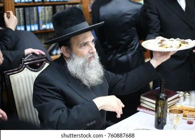 Meron ,Israel, September 27 2017- Jewish Grand Rabbi of the Ashlag dynasty With his group of Chassidim, Visit the grave of Rabbi Shimon Bar Yochai in Meron morning prayer where Jewish people