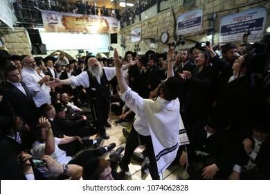 MERON, ISRAEL-MAY 14, 2018: Wild dancing an performances by hasidic Jews on the joyous Jewish holiday of Lag Baomer in Meron, Israel celebrating the memorial of Rabbi Shimon Bar Yochai
