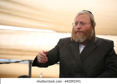MERON,ISRAEL- MAY 26, 2016: Singer of The musical band plays and sings during the Hilula, annual memorial of Rabbi Shimon Bar Yochai in Meron, on Lag BaOmer Holiday.  annual celebration at the tomb.