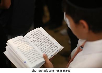 MERON,ISRAEL- September 2, 2016:  Jews studying and praying before the Rosh Hashanah. the Jewish High Holidays in Rosh Hashanah and Yom Kippur