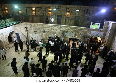 MERON,ISRAEL- September 2,2016: Orthodox Jews pray in the tomb of Rabbi Shimon Bar Yochai , the month of Elul.  A place where Jewish worshipers and This is an annual celebration of Rabbi Shimon.