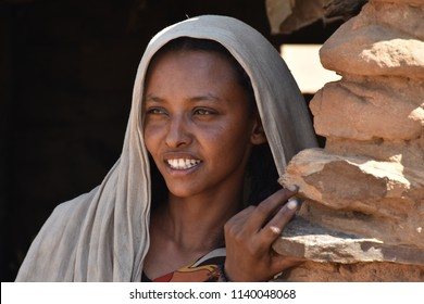 Merowe, Sudan - November, 19, 2017: Potrait of unidentified young sudanese woman