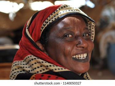 Merowe, Sudan - November, 19, 2017: Potrait of old sudanese woman