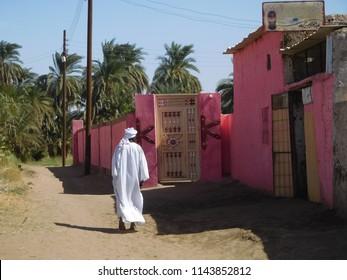 Merowe, Sudan - November, 23, 2017: Little village near Nile river