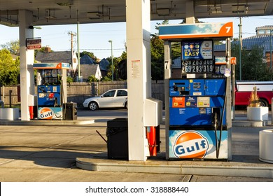 Merrick, NY September 18th 2015- Two gas pumps at a gulf gas station. Gulf Oil LP is an American oil company, Cumberland Farms acquired the naming rights  from Chevron in the United States in 1986.