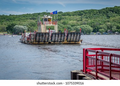 Merrimac free cable ferry crosses the Wisconsin River between Sauk and Columbia counties.