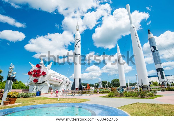 MERRITT ISLAND, FL - 31 July 2016: Kennedy Space Center Rocket Garden view on 31 July 2016 in Merritt Island, Florida. It is the launch site for every United States human space flight since 1968.