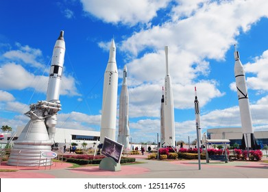 MERRITT ISLAND, FL - FEB 12: Kennedy Space Center Rocket Garden view on February 12, 2012 in Merritt Island, Florida. It is the launch site for every United States human space flight since 1968.