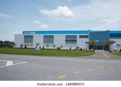 Merritt Island, FL / USA - July 14, 2019:  Blue Origin Rocket Factory Aerospace and sub-orbital spaceflight services company on Space Commerce Way; part of Exploration Park at Kennedy Space Center
