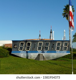 MERRITT ISLAND, FLORIDA-OCTOBER 31, 2019: The countdown clock at Kennedy Space Center Visitor Complex was used 1969 to 2014 for launches such as the Apollo moon landing, space shuttles, and Skylab.