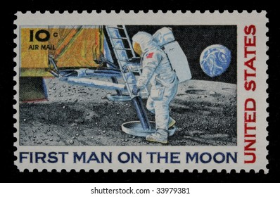 MERRITT ISLAND - JULY 20: The 40th Anniversary of the First Man on the Moon as seen in this Commemorative Air Mail stamp issued by the US Post Office in 1969 - July 20, 2009 in Merritt Island, FL