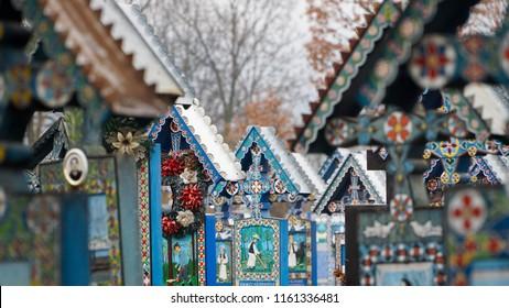 Merry Cemetery near Sapanta in Maramures, Romania.