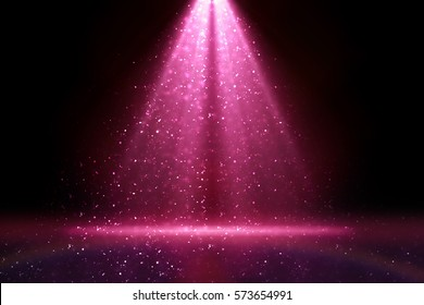 Merry Christmas 2020 Stage light and pink glitter lights on floor. Abstract background for display your product. Spotlight realistic ray
