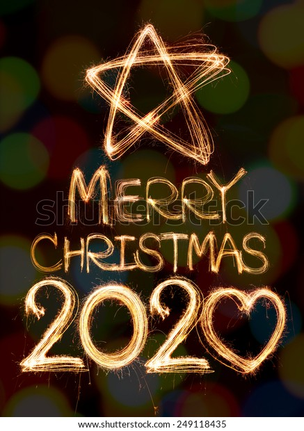 Now Merry Christmas 2020 Merry Christmas 2020 Written Sparkling Light Stock Photo (Edit Now