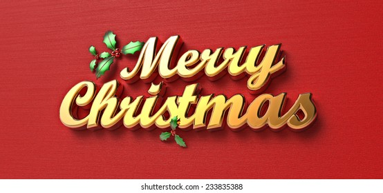 Merry Christmas 3D gold text and holly
