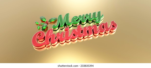 Merry Christmas 3D text and holly