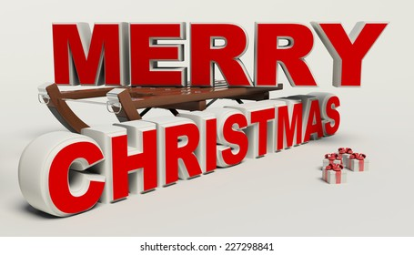 Merry Christmas 3d text, sled,and gift high resolution
