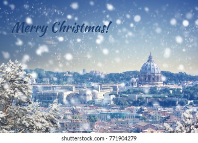 Merry Christmas background : Aerial view of Rome cityscape at winter sunset in Italy. Vintage colored picture. X-mas, Business, Love and travel concept .