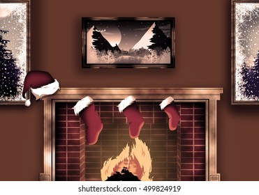 Merry Christmas background flat