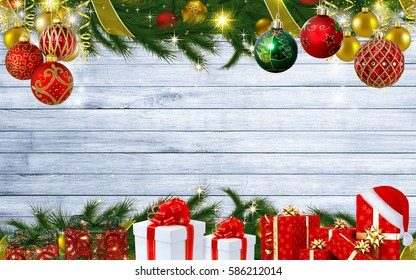merry christmas background with gifts christmas tee leaf light stars useful for christmas