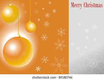 Merry Christmas balls with snow, Elegant orange