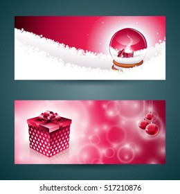 Merry Christmas banner illustration with gift box and magic snow globe on red background. JPG version.