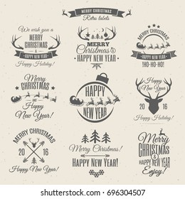 Merry Christmas black labels set