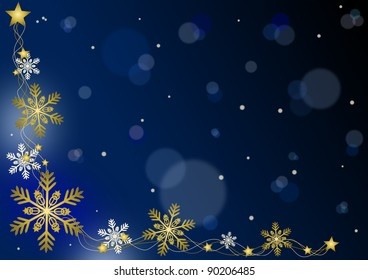 Merry Christmas - blue background with snowflakes