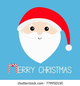 Merry Christmas. Candy cane. Santa Claus head face, big beard, moustaches, white eyebrows, red hat. Cute cartoon kawaii funny character. Blue background. Isolated. Greeting card.