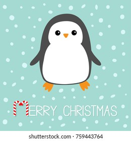 Merry Christmas Candy cane text. Kawaii Penguin bird. Cute cartoon baby character. Flat design Winter antarctica blue background with snow flake. Greeting card.