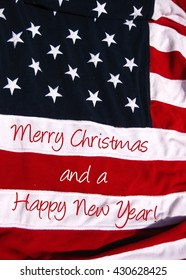 Merry Christmas card, American Flag stars and stripes