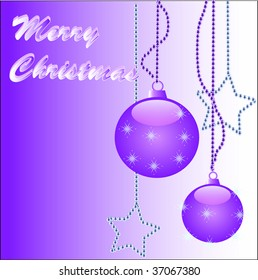 Merry Christmas card with christmas balls and stars with 'Merry Christmas' in writing illustration