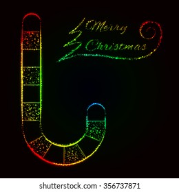 Merry Christmas card, cane and text of gradient lights