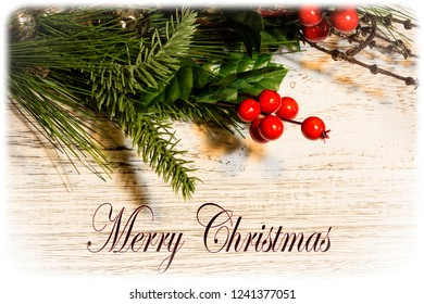 Merry Christmas card with decoration and holiday text