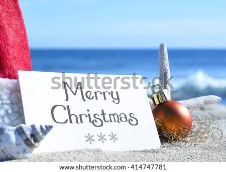 Merry Christmas Card Christmas Decoration Sea Stock Photo Edit Now