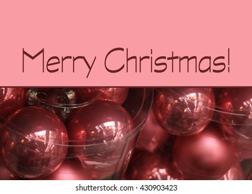 Merry Christmas Card: pink baubles