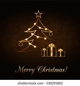 Merry Christmas celebration background, gold Xmas tree. Decorative golden gift box, balls, star. Simple sketch card, greeting. Shine light Happy New Year holiday decoration. illustration