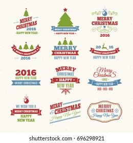 Merry Christmas color labels set (color)