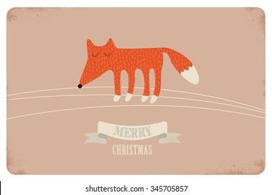 merry christmas. cute card design.  vector illustration - Shutterstock ID 345705857