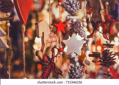 merry christmas, cute festive decoration close up, beautiful toys for new year