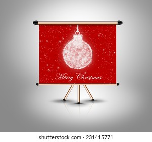 merry christmas, decoration ball on isolated banner. grey banner