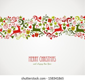 Merry Christmas decorations elements seamless pattern border.