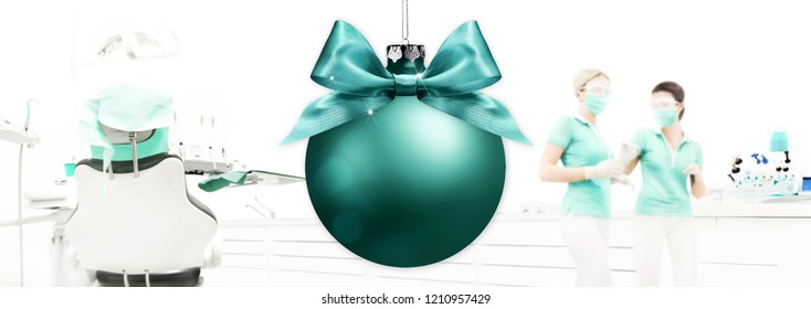 Merry Christmas from dentist, dental clinic with xmas ball background, gift card banner web template with copy space
